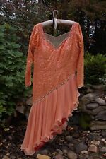 $500 Latin (Tango, Salsa, Cha Cha) Ballroom Dance Dress - Peach Sequins & Jewels