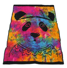 New Baby Quilt Multicolor Tie Dye Panda Printed Coverlet With 100% Cotton Filled