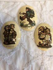 Vintage Oval Hummel Chalkware Plaster Lot of 3