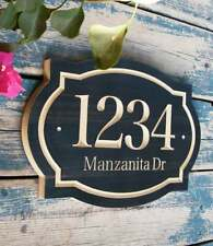House Numbers Plaque Custom Design Address Modern Sign Black Wood