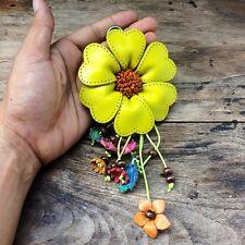 New Big Lime Genuine Leather Keychain KeyRing Handmade Flower Charm Purse Floral