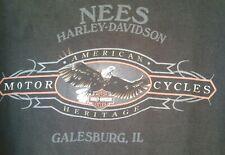 Harley Davidson  Mens T-Shirt 2XL Black  Dealer SS XXL Galesburg ILLINOIS Eagle