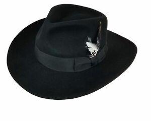 Men's 100% Crush-able Wool Felt  Indiana Jones Cowboy Outback Western Fedora Hat