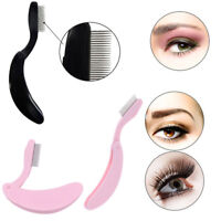 Foldable Steel Metal Eyebrow Comb Eyelash Extension Brush Cosmetic Makeup Tool