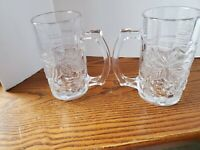 Root Beer Mugs/Sturdy Beer Clear Glass with grape 🍇 leaves vintage