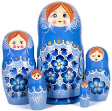 "Nesting Dolls w/ Floral Art 5 pcs 7"" Russian Doll Matryoshka Hand Painted Russia"
