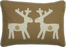 Relleno Estupendo Mezcla De Lanas Beis Reno Navidad Copo De Nieve 35x50cm Cojín
