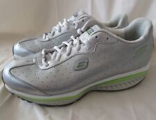 SKECHERS Shape-Ups Resistance Women 11 M SILVER Leather Athletic Shoes Lace Up