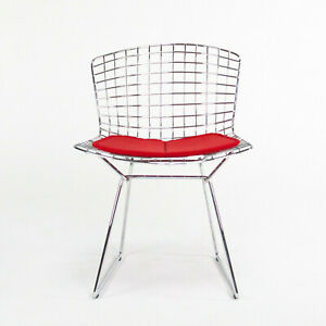 2010s Harry Bertoia for Knoll Studio Side / Dining Chair w/ Red Fabric Seat Pad
