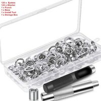 """120 Sets Grommet Tool Kit 1/2"""" Eyelets Washer Punch Tools Leather Canvas Craft"""