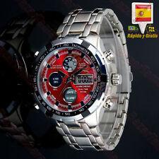 Reloj de Hombre Digital Militar Deportivo Acero Para Hombres Led Caballero Rojo