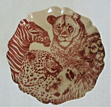 Fitz and Floyd Animal Octagonal Plate Zebra Lions Cheetah Monkey 6 3/8 Inches