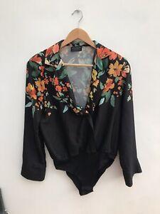 Zara Black Floral Body Bodysuit Top - Small
