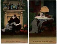 LOT OF 2 ~ Bamforth romance ~ Edwardian couple kissing ~ antique clock c1910