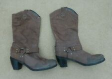 Dune Heeled Brown Calf Length Cowboy Style Boots Size 5 (38) Need Cleaning!