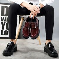 British Mens Round Toe Buckle Strap Creepers Comfort Patent Leather Casual Shoes