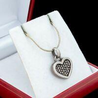 Antique Vintage Deco Mid Century 925 Sterling Silver Heart Pendant Necklace 9.4g
