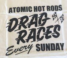 Atomic Hot Rod Drag Shirt White (Medium) Chev Ford Harley Triumph chopper BSA
