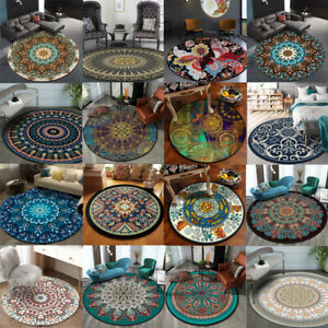 Round Vintage Bohemian Non-slip Livingroom Kitchen Bathroom Floor Mat Rug Carpet