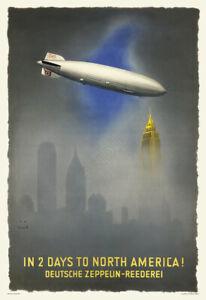 Hindenburg Zeppelin Over New York City – Vintage 1936 Travel Poster