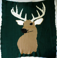 HANDMADE Crochet AFGHAN Knit THROW vtg BUCK DEER Quilt COUCH Bed BLANKET Hunting