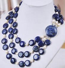 """3 Rows White Cultured Pearl & Genuine Coin Lapis Lazuli Necklace 17-20"""""""