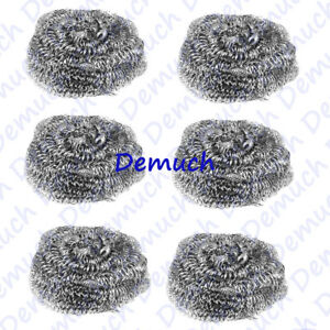 New 6 STAINLESS STEEL SCOURERS Wire Kitchen Cleaning Washing Up Pads Pot Pan ✔