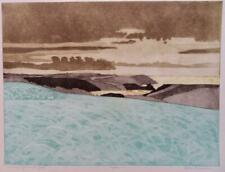 JOHN BRUNSDON limited edition pencil signed Etching EVENING LIGHT GOWER WALES