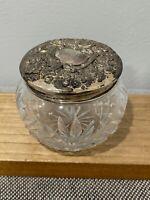 Antique Dominick & Haff Sterling Silver Repousse Lidded Cut Glass Powder Jar