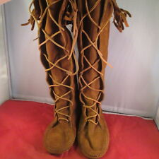 VTG Minnetonka Brown Suede Fringe Lace Front Knee Moccassin Flat Boots Size 9