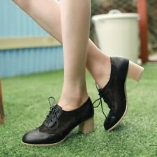 Lace Up Mesh Block Mid Heel Round Toe Oxford Preppy Women Brogue Shoes Plus Size