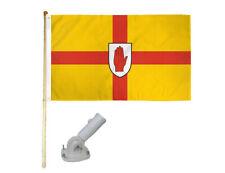 New listing 5' Wooden Flag Pole Kit W/ Nylon White Bracket 3x5 Ulster Irish Polyester Flag