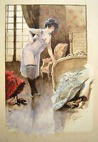 AQUARELLE fin XIXe FEMME NUE signée Georges PAYEN 35 x 24 cm