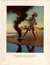 ORIGINALE ANTICO Maxfield Parrish stampa 1909 il pescatore e il genio