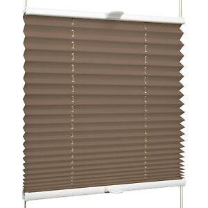 Plissee für Fenster & Tür mit Klemmhaltern Klemmfix ohne Bohren | Braun