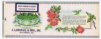 June Peas, can label, J. Langrall & Bro., Inc. Baltimore MD, roses
