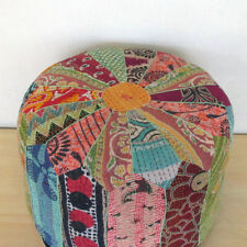 Small Vintage Handmade Pouf Ottoman Cover Kantha Old Patchwork Foot Stool Throw