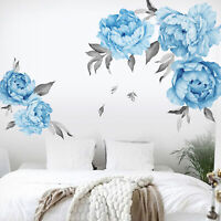 KQ_ DIY Peony Rose Flower Wall Sticker Household Background Decal Art Decoration