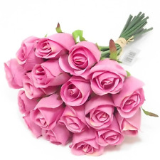2 X 30CM  ARTIFICIAL SILK PINK ROSE BUNCH /  BUNDLE  18 FLOWER HEADS EACH