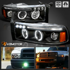 1994-2001 Dodge Ram Truck Halo LED Projector Headlights Black Pair