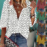 Womens V Neck Long Sleeve Shirts Tops Ladies Floral Holiday Casual Loose Blouse