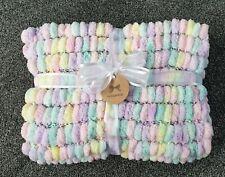 Super Soft Hand Knitted multi Pom Pom Blanket size large 55 x 80 cm