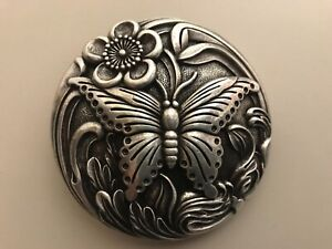 Rare solid,vintage,distressed women's Butterfly belt buckle.Silverj plated.