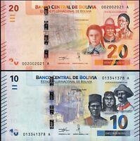 Bolivia 2 Pcs SET 10 and 20 Bolivianos 2018, UNC, P New, Suffix A