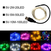 20 50 100 LED Lichterkette Draht Mikro Drahtlichterkette USB Außen Innen Party