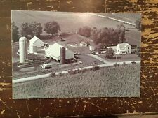 "Aerial View Farm Black & White Digital Photograph Mounted On Board 18"" by 12"" F"