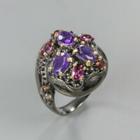 Natural Amethyst 925 Sterling Silver Ring Size 8.5/RR17-1485