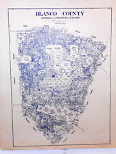 Old Blanco County Texas Land Office Owner Map Johnson City LBJ Round Mountain