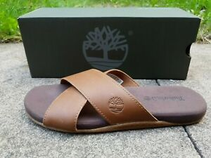 NEW TIMBERLAND MEN'S SANDALS SEATON BAY STRAP RUST LEATHER SIZE UK 8.5 RRP £65