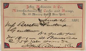 John Robinson & Co. Manufacturers Of Corks & Bungs NYC ~ 1881 Government Postal